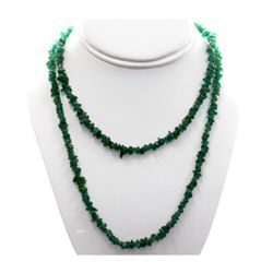 NaturalEmerald Uncut Adventurine  Beads Necklace 164 cw