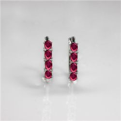 NATURAL 4.00 CTW PINKTOURMALINE EARRINGS .925 STERLING