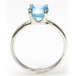 Natural 1.25ctw Blue Topaz Round .925 Sterling Ring