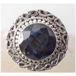 Natural 25.15 ctw Sapphire Round Ring .925 Sterling