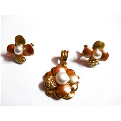 Natural 88.65 ctw Pearl Pendant/Earring Set .925 Sterli
