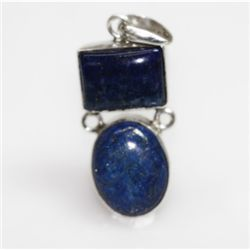 NATURAL 7.11 GRAMS LAPIS OVAL PENDANT .925 STERLING SIL