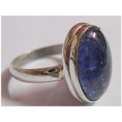 Natural 22.40 ctw Tanzanite Oval Ring .925 Sterling