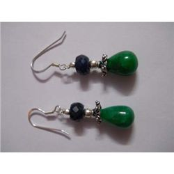 40.0 ctw Emerald Earrings .925 Sterling Silver