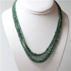 Natural Emerald Round  Beads  185.71 CTS.Necklace w/bra