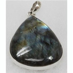 Natural 24.44g Semi-Precious Pendant .925 Sterling