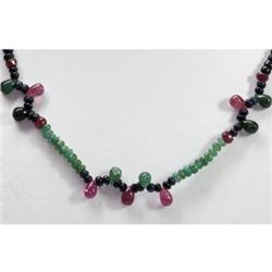 Natural 80.47 ctw Emerald Ruby Sapphire Bead Necklace