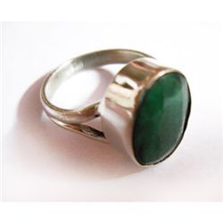Natural 18.70 ctw Emerald Oval Ring .925 Sterling