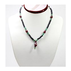 Natural 124.00 ctw Emerald Ruby Sapphire Bead Necklace
