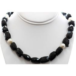 Natural Big Black Spinal and Pearl Beads Necklace