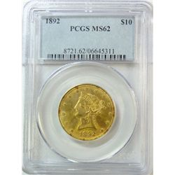 1892 $10 GOLD LIBERTY PCGS MS-62