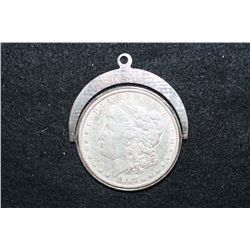 1887 Silver Morgan $1 on Swivel Necklace Loop