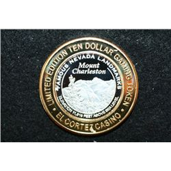 El Cortez Hotel & Casino Limited Edition Two-Tone $10 Gaming Token; Famous Nevada Landmarks-Mount Ch