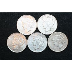 1922 (2), 1923, 1923-S & 1927 Peace $1, Lot of 5