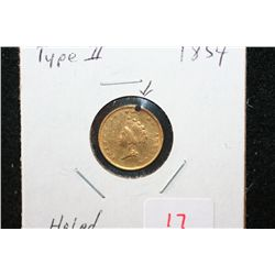 1854 Indian Princess $1 Gold Coin, Type II, Holed
