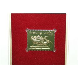1989 First Day Issue 22K Gold Replica Stamp W/Postal Stamps; Christmas 1989 Traditions of Christmas