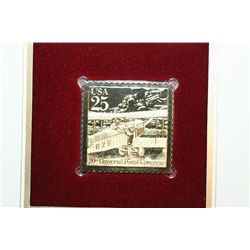 1989 First Day Issue 22K Gold Replica Stamp W/Postal Stamps; Classis Mail Transportation Biplane