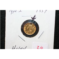 1854 Liberty $1 Gold Coin, Type I, Holed