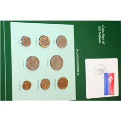 French Republic; Coin Sets of All Nations W/Postal Stamp Dated 1989