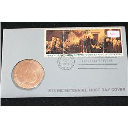 1976 American Revolution Bicentennial First Day Cover Thomas Jefferson Commerative Medallion W/Posta