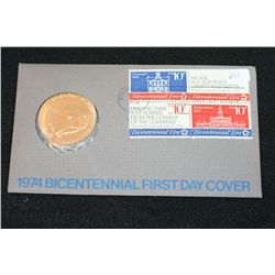 1974 American Revolution Bicentennial First Day Cover John Adams Commerative Medal W/Postal Stamps