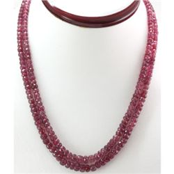 Natural Ruby Round  Beads Necklace 251 ctw.w/brass clas