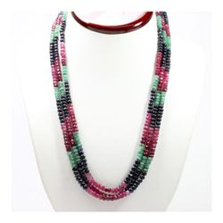 Natural 345.68 ctw Emerald, Ruby Sapphire Bead Necklace