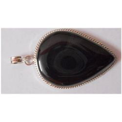 Natural 87.05 ctw Black Onex Pendant 925 Sterling