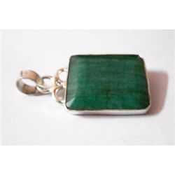 Natural24.50 ctw Emerald Square Pendant .925 Sterling