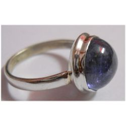 Natural 21.70 ctw Tanzanite Round Ring .925 Sterling