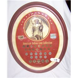 Framed American Indian Coin & Stamp Collection