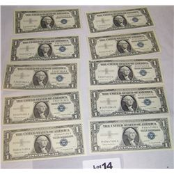 (10X$) UNCIRCULATED $1 SILVER CERTIFICATES SERIES 1957, BLUE SEAL