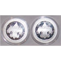 """(2X$) .999 SILVER ONE OUNCE """"BOY SCOUTS"""" COINS KIND & TRUSTWORTHY"""
