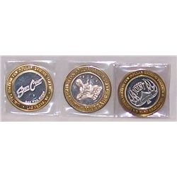 (3X$) .999 SILVER CASINO STRIKES- HARDROCK, SOUTH COAST, HARRAHS, LIMITED EDITION