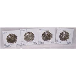 (4X$) U.S WALKING LIBERTY HALVES AU+-MINT STATE 1941-1944