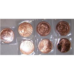 (7X$) .999 COPPER ONE OUNCE LIBERTY PROOF COINS