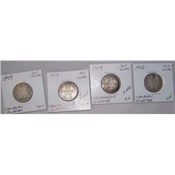 (4X$) CANADIAN & NEW FOUNDLAND SILVER QUARTERS 1899-1919