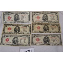 (6X$) $5 U.S NOTES CHOICE CONDITION SERIES 1928 RED SEAL