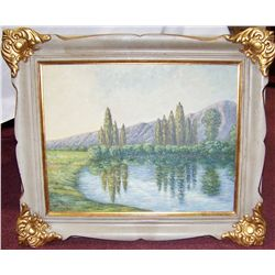 Claude Monet Tribute Oil Painting of a Countryside.