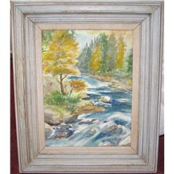 Country Stream Water Color by Mary Buckman.