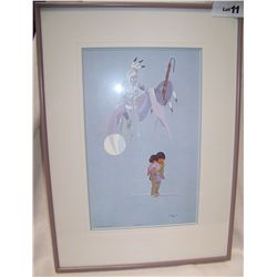 JOHNNY TIGER FRAMED LITHOGRAPH 1458/1500
