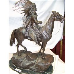 "Carl Kauba Bronze Sculpture ""Mounted Indian Chief"""