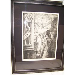 Vintage Surrealistic Etching, Signed in pencil LUNA,  custom framed