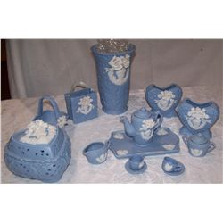 Jasperware Style 12 Piece Collectible Set As Shown