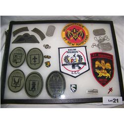 LOT OF MILITARY PATCHES, AIRBORNE PINS & 3 DOG TAGS