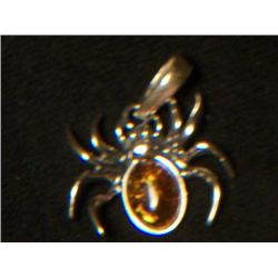 BALTIC AMBER SPIDER SET WITH SILVER CHAIN