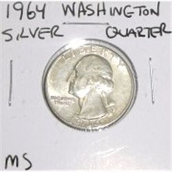 1964 Washington Silver Quarter *RARE MS HIGH GRADE - NICE COIN*!!