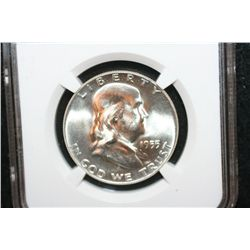 1955 Ben Franklin Half Dollar; NGC Graded MS65