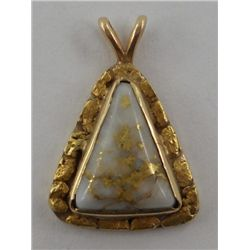 Nugget & Quartz Gold Pendant
