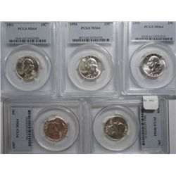 1951, 54, 55, 57, & 58 WASHINGTON QUARTERS ALL PCGS MS-64